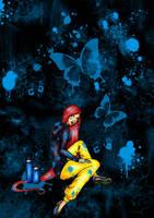 blue and butterflies by Oo-Ninart-oO