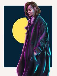 The girl in the neon coat
