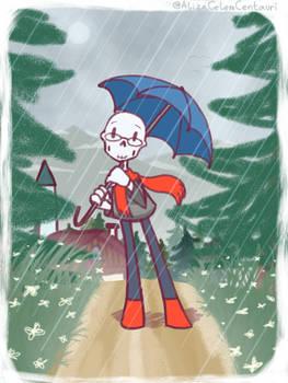 Smol Handplates Gaster, just chilling in the rain