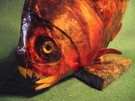 Paper piranha faux taxidermy by Kuriologist
