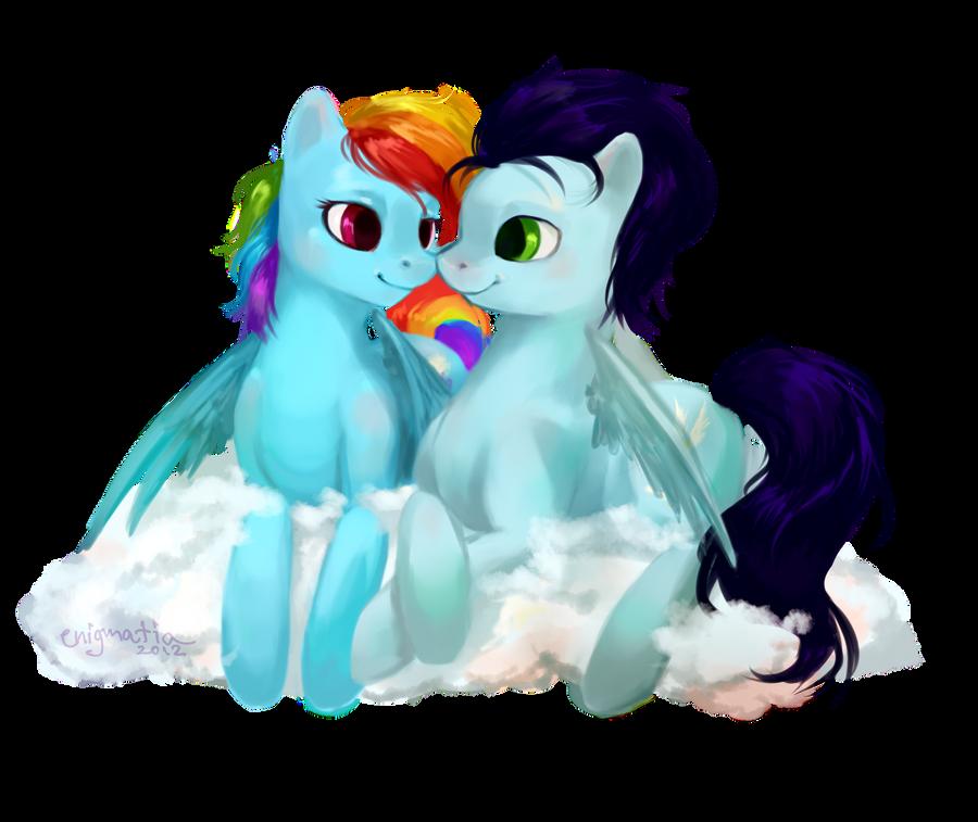 Pony Commission: Rainbow Dash + Soarin' by enigmatia