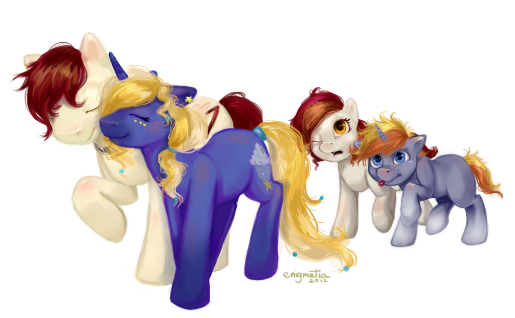 Pony Commission: Starry and Forest's Family by enigmatia