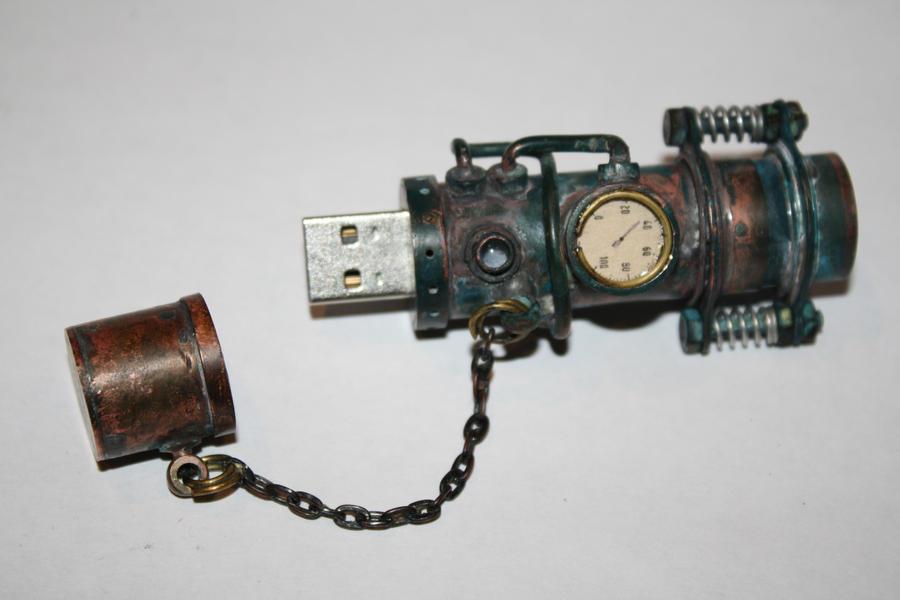 steampunk USB flash drive trash style by Marseau