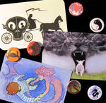 Postcards and buttons