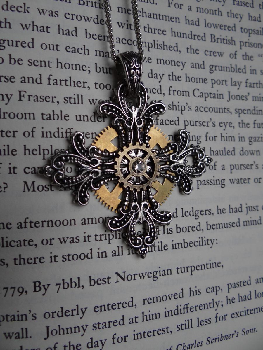 Steampunk cross pendant II by Hiddendemon-666