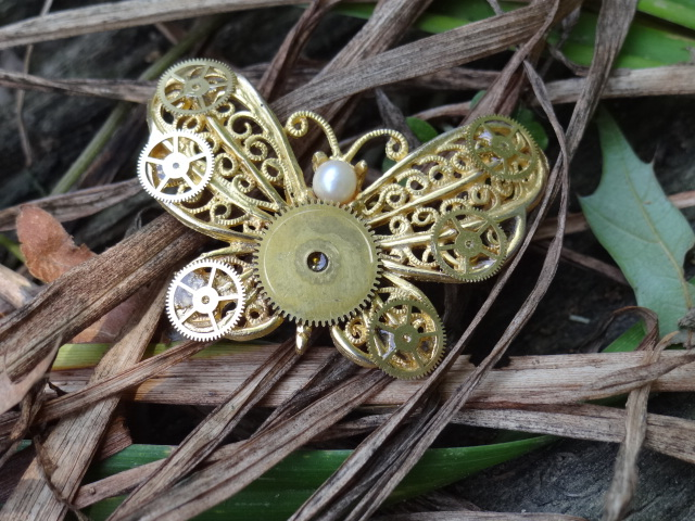 Steampunk butterfly pin by Hiddendemon-666
