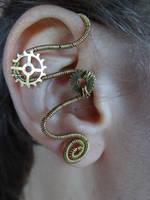 Steampunk wire wrapped ear cuff II by Hiddendemon-666