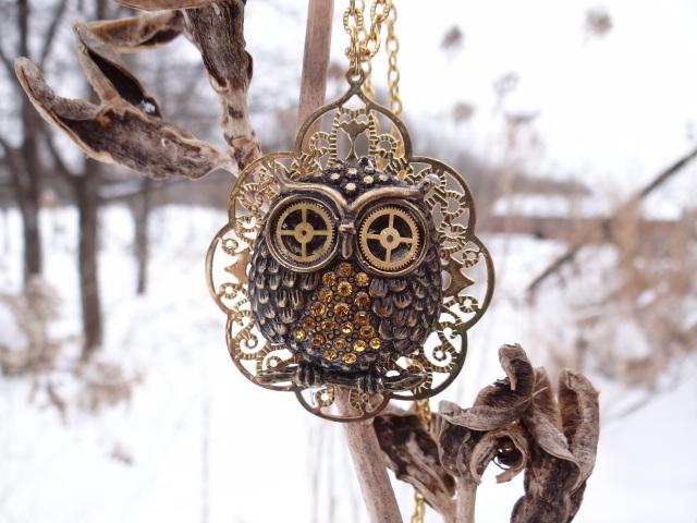 Steampunk golden owl by Hiddendemon-666