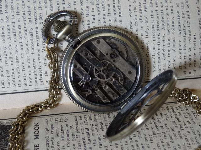 Steampunk pocket watch necklace by Hiddendemon-666