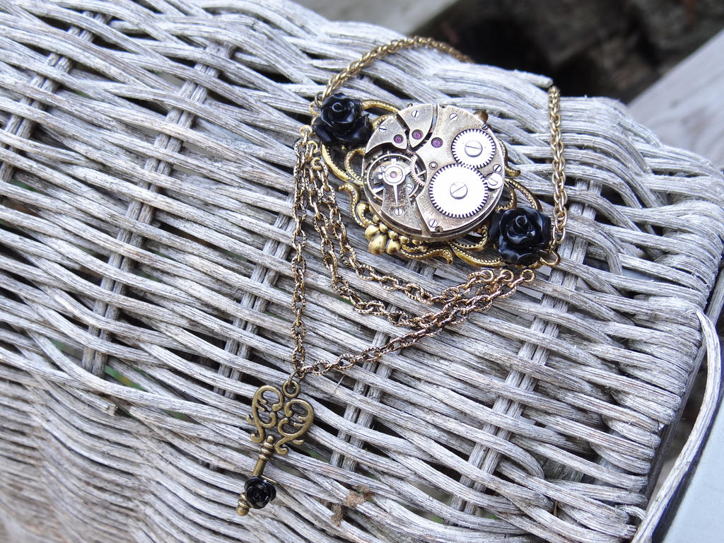Black Rose Steampunk Necklace by Hiddendemon-666