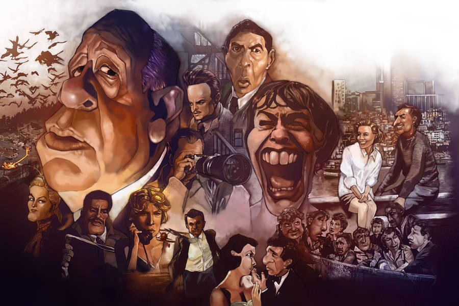 Alfred Hitchcock's caricature by Dr3amtracerCc
