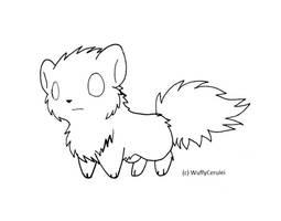 Free Chibi Wolf Lineart by Wuffy-Cerulei