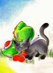 Yoshi and a kitteh