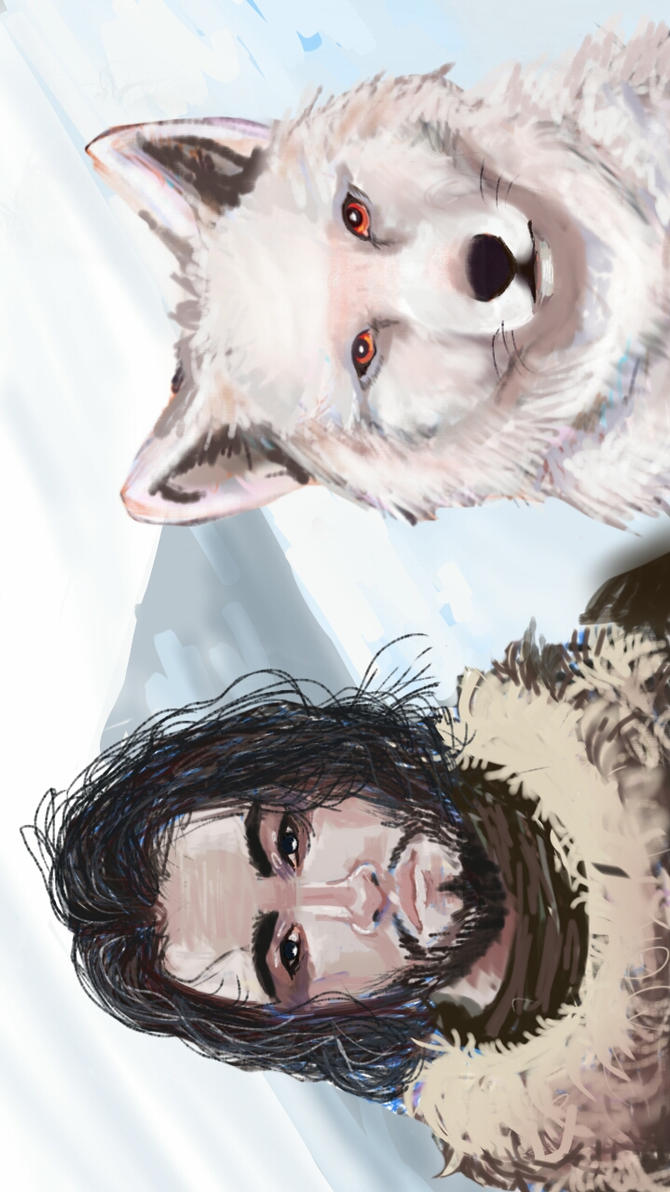 Jon Snow and Ghost by Magikapple