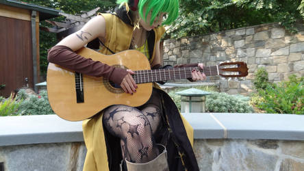 Sonika with a guitar