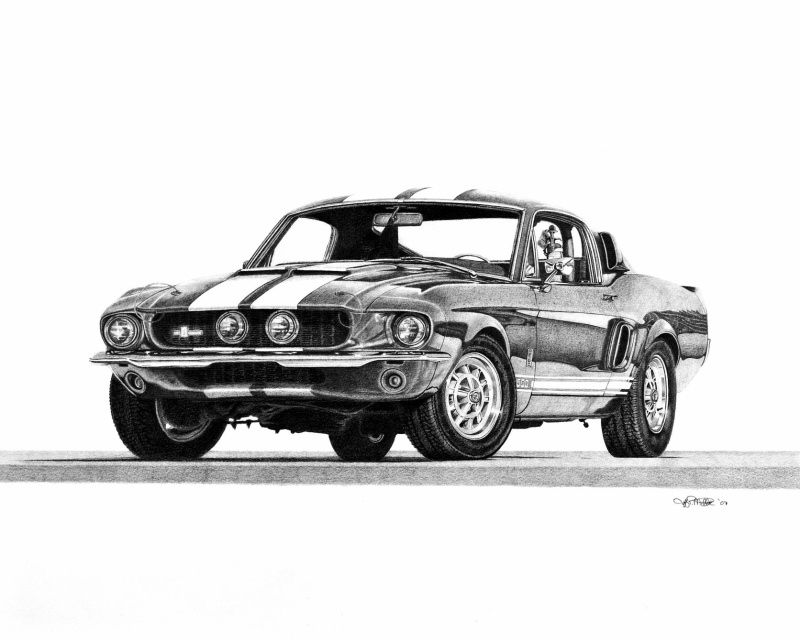 How to Draw a 67 Ford Shelby Mustang Gt 500  DrawingNow