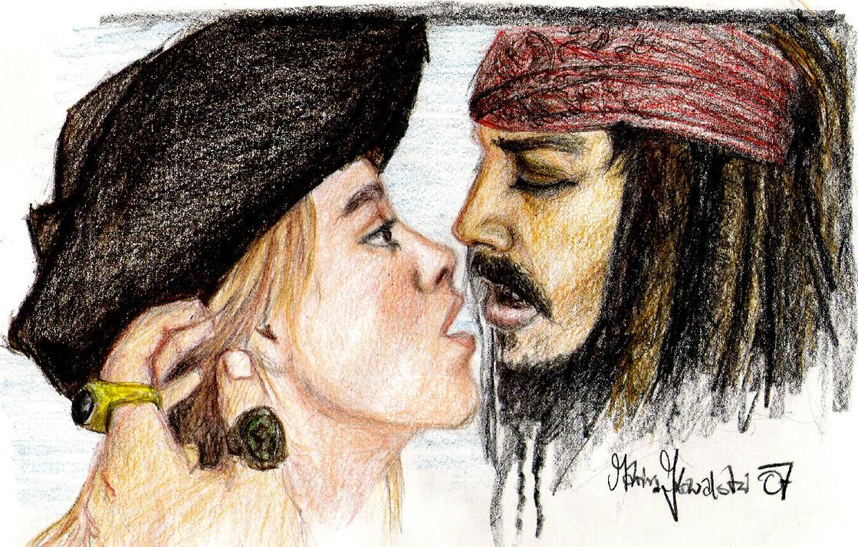 Jack Sparrow + Elizabeth Swann by Kittypueh