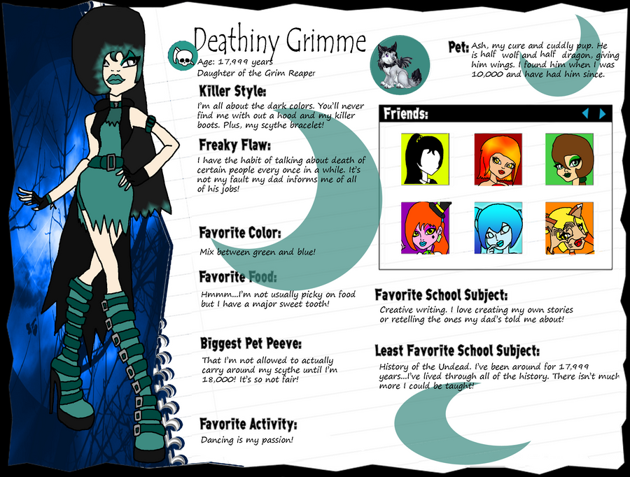 Monster High OC - Deathiny Grimme by LeannaQua on DeviantArt