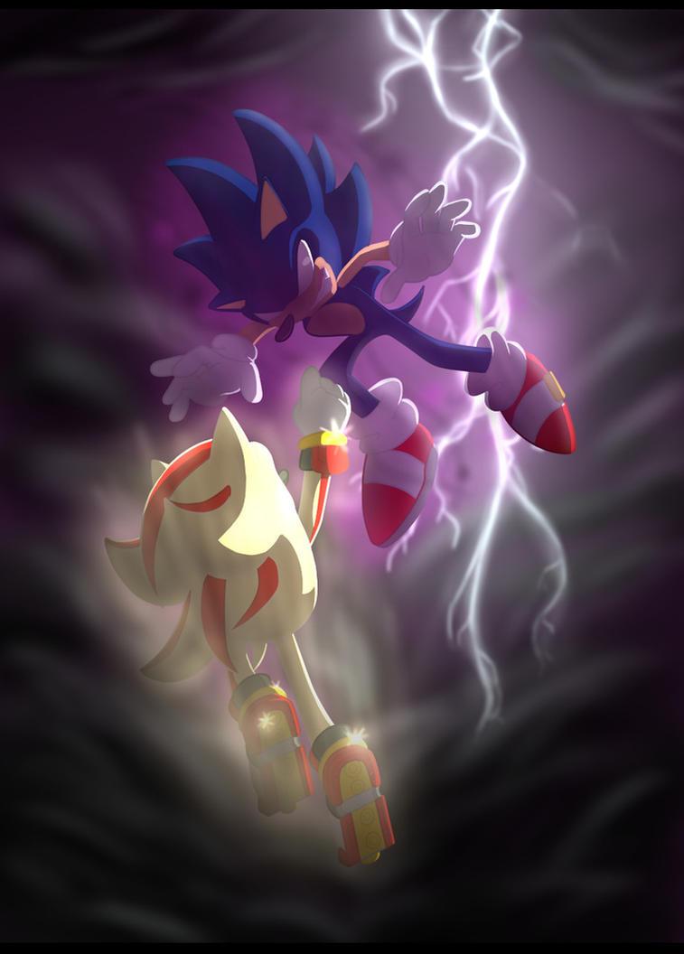 Super Shadow vs dark Sonic by 5catsonebowl on DeviantArt