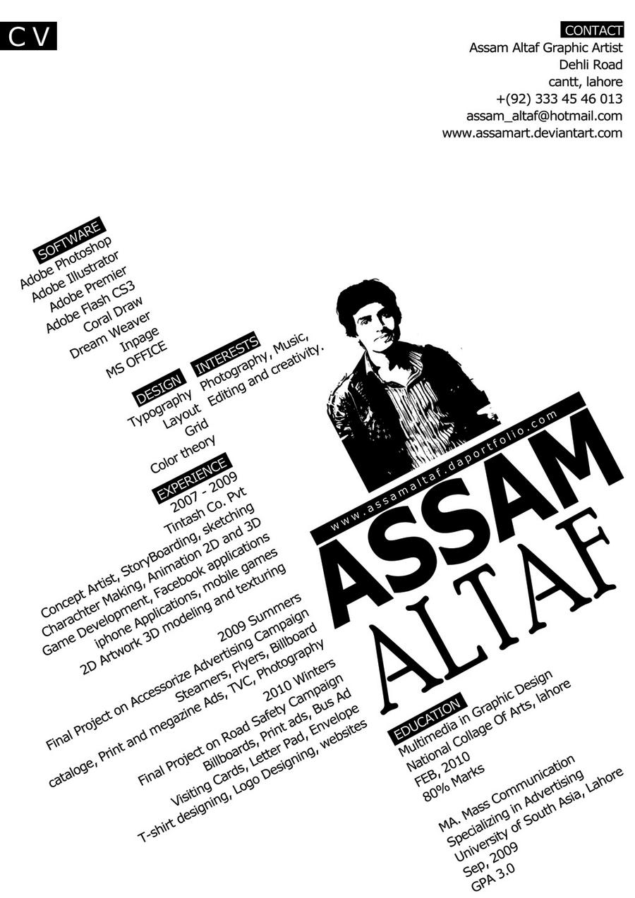 my graphic design cv by assamart on deviantart