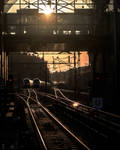 Sunset over Train station by silentmemoria