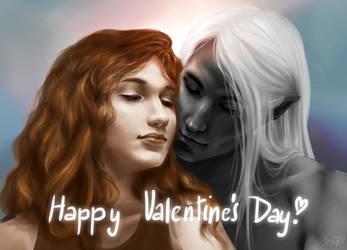 Catti-brie And Drizzt - Valentine's Day by svanha