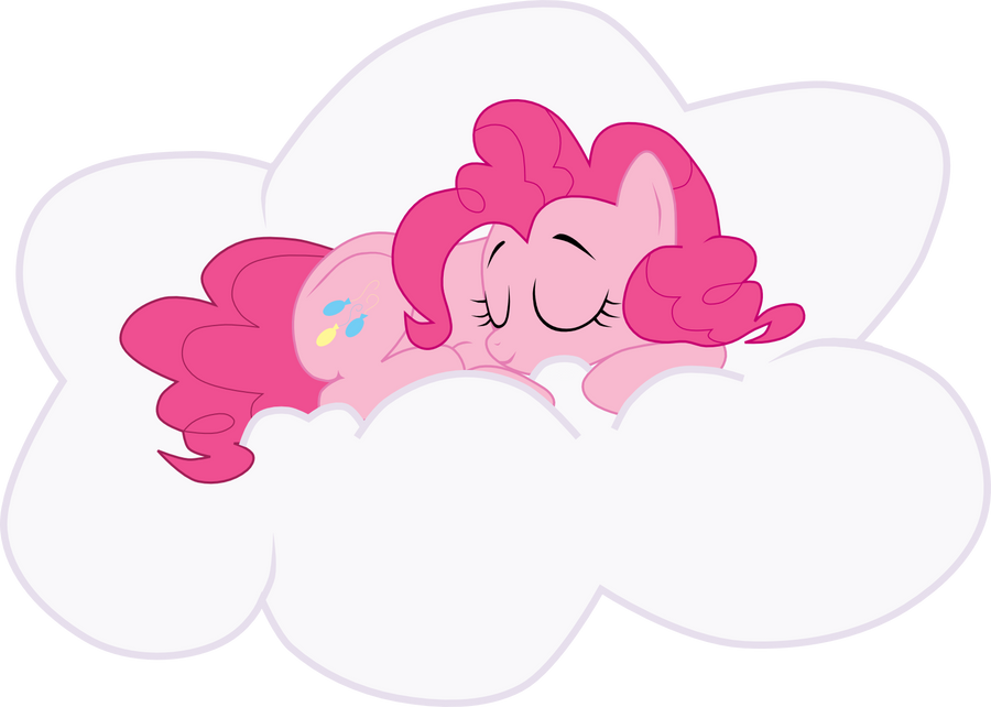 Pinkie Pie sleeping on a cloud by Sazlo