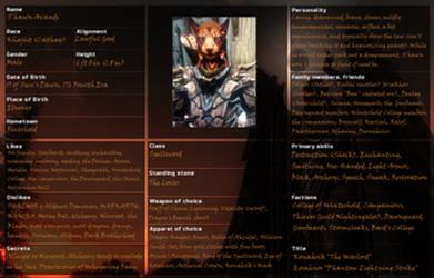 S'hawn Skyrim Character Sheet by Novanplz