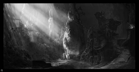 B and W Concept of cave dwellina