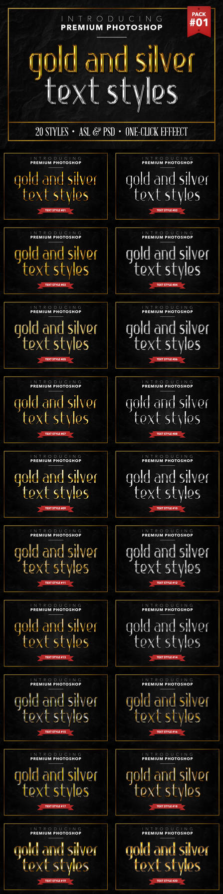 Gold and Silver - Text Styles by ivelt