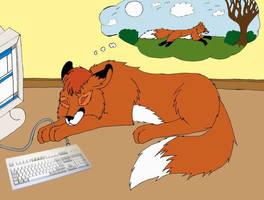 Sleeping CyberFox by KuschelGarou