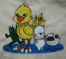 Final Fantasy-Favorites! on a cotton bag / design by Yellow-Chocobo