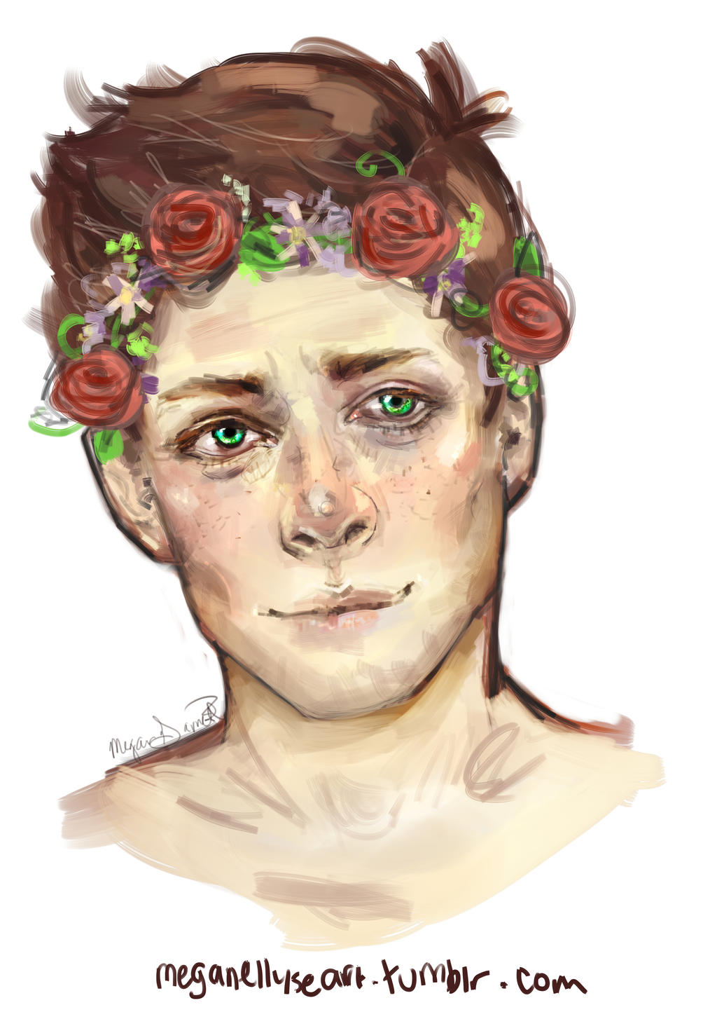 Girl with flower crown drawing - photo#23