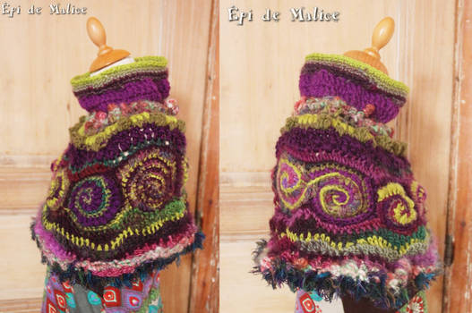 Green and purple spirals capelet