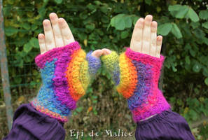 Psychedelic rainbow mittens