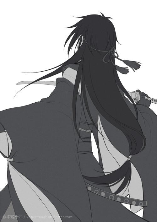 Mikazuki with long hair by kenwntanabata