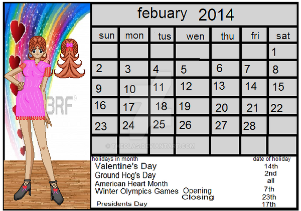 calinder entery for febuary 2014 contest by theolas on deviantart