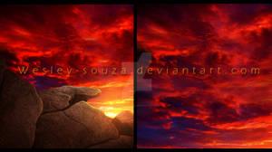 Orange sky with stone - Premade
