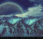 Mountains with planet in the sky premade
