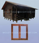 Window and Wooden House - PNG Stock