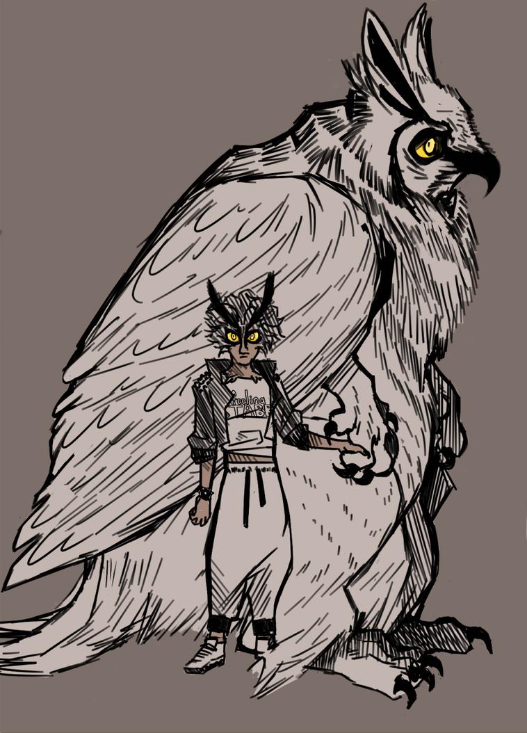 great horned owl mom by birdsatans