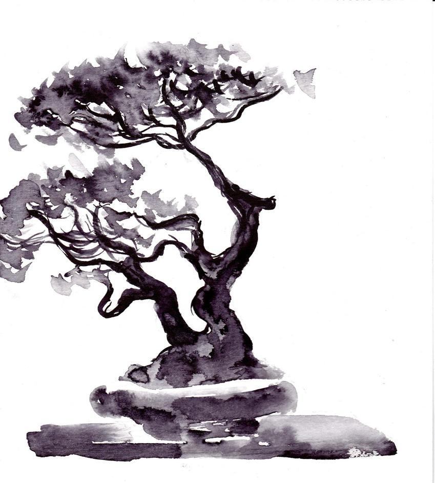 Bonsai prunus croquis pinceau encre de chine by hagron on - Dessin bonzai ...