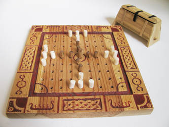 Tafl Board with Pieces and Storage Chest by darkestnight