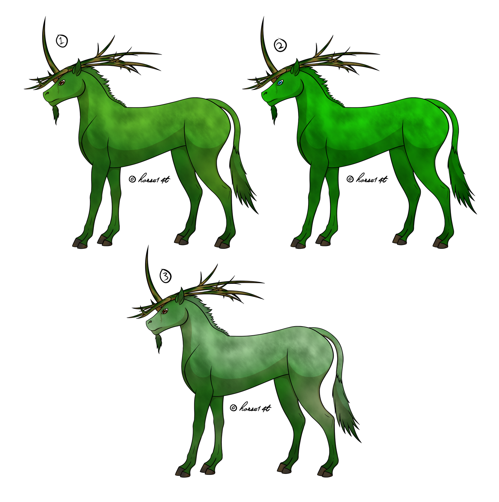 Swamp Unicorn Colourations by horse14t