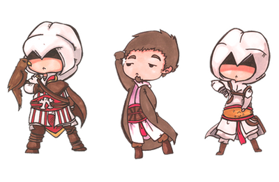 Assassins creed paper chibis by SheriffGraham