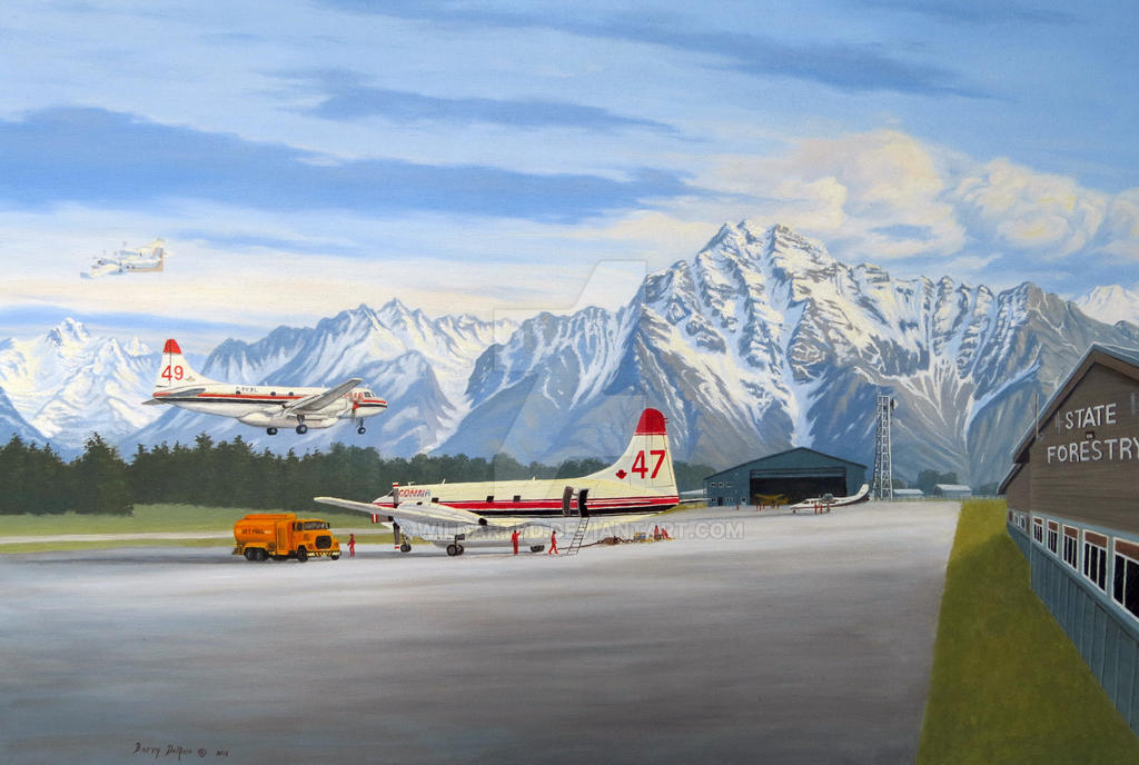 Palmer Alaska Air Tanker base, original oil by WildartBD
