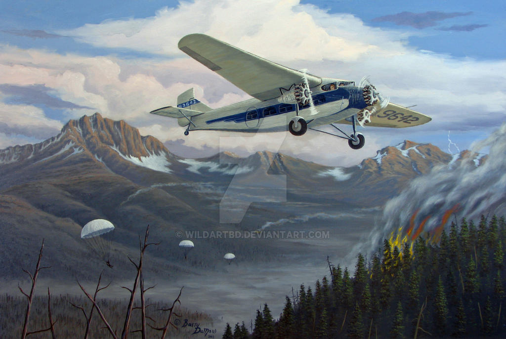 Ford Tri-Motor smoke jumping painting by WildartBD