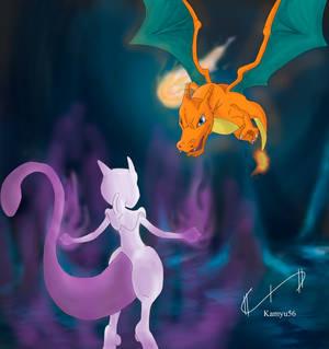 Lizardon vs Mewtwo