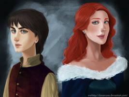 Arya and Sansa by DanArcane