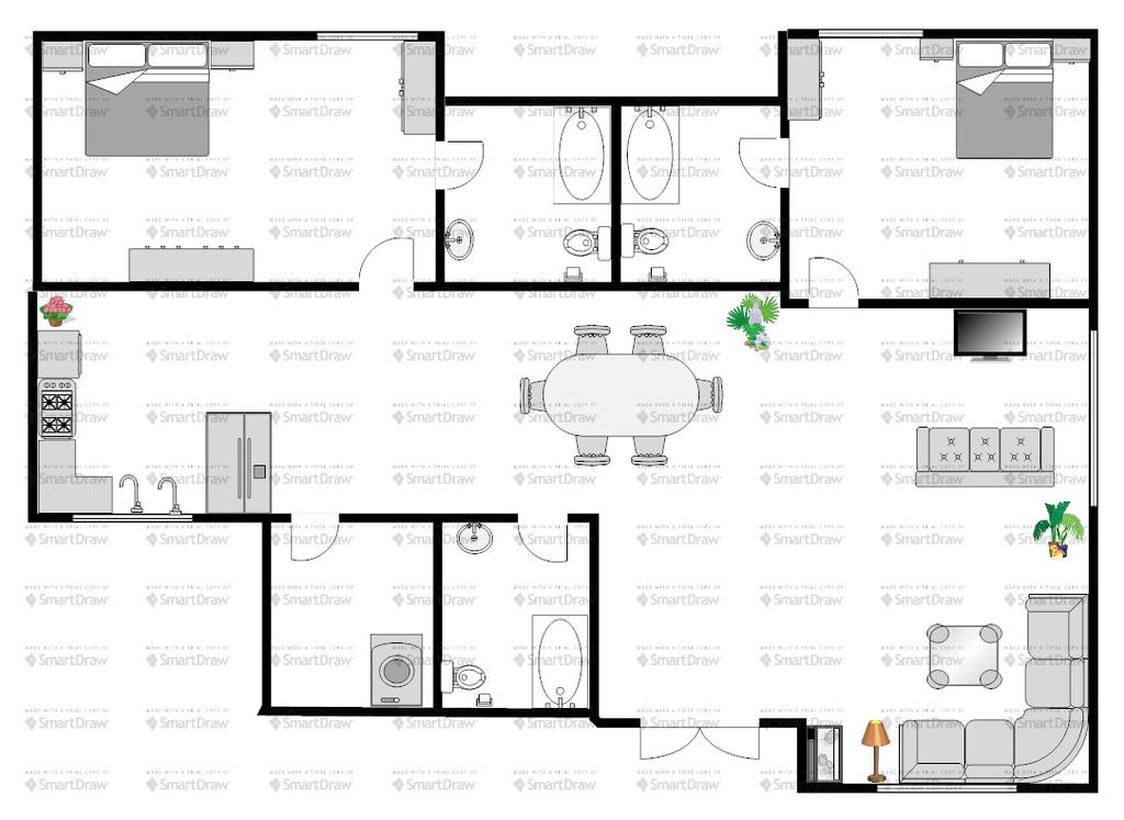 Floor plan of a single storey bungalow by khailaffe on for Single storey house floor plan